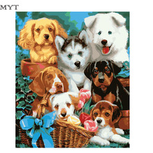 Some Dogs Frameless Figure Painting Pictures Painting By Numbers DIY Canvas Oil Painting Home Decoration For Living Room