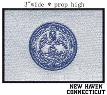 "New Haven, Connecticut USA Flag 3""wide shipping/organization logo/white back/blue outline"