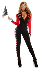 Long Sleeve Spandex Women Race Car Costume Jumpsuit Sexy Race Car Driver Halloween Costumes Women Deep V Zipper Front Catsuit(China)