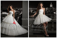 Handmade Flower Tiered Strapless Wedding Dresses with Detachable Skirt Buy One Get Two Style Ball Gown Short Bride Gowns Lace-up