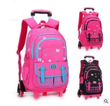 Trolley School bag On wheels School Rolling backpack Travel luggage bag Trolley School backpack wheeled bag for girl student(China)