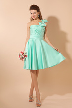 Best Selling Mint Green Strapless A-line Knee Length Bridesmaid Dress With Sleeveless Ruffles Prom Dress Gowns Real Picture