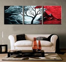 3 Panels hand painted DIY Canvas Painting by Numbers the Cloud Tree Wall Art Landscape Oil Paintings on Canvas for Living Room(China)