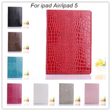 freeshipping new fashion magnetic luxury crocodile pu leather smart case cover table case for apple iPad air ipad 5 stand case