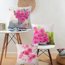 Hot Sale High Quality Cotton Linen Pink Flower Rose Printing Car Decorative Throw Pillow Case Cushion Cover Sofa Home Decor