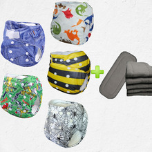 2017 new design machine washable 5pcs nappy fabric aio cotton baby diapers With 5pcs 4-Layer Bamboo Charcoal Inserts(5sets)