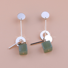 Fashion jewelry charm earrings with crystal beads 2 colors simple long drop cube crystal Green jewelry dangle earrings Brincos