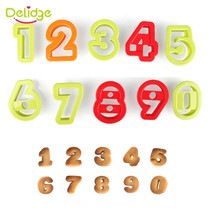 Delidge Number Letters Biscuit Cutter Number Fondant Cake Cookie Cutter Press Embosser Cake Mold Birthday Cake Decoration Tools