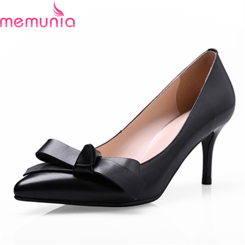 MEMUNIA spring autumn fashion high quality genuine leather high heels shoes sexy pointed toe solid black party shoes<br>