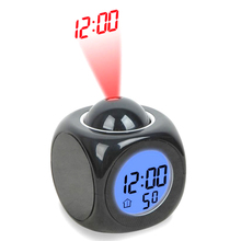 LCD Projection Electronic Desk Clock Nixie Snooze Digital Clock Radio Projector Watch Talking Alarm Clock With Time Projection