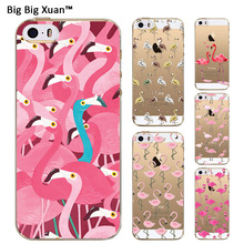 "For iPhone SE 5 5S 4.0"" Transparent Silicone Soft TPU Clear Case Pink Flamingo Phone Cover Back Shell Coque Funda Capa Para 2016"