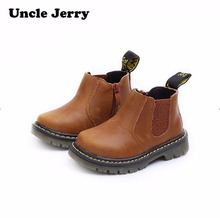 UncleJerry Autumn Winter Boys Girls Real Leather Boots Low ankle Kids Shoes waterproof snow boots Children warm shoes(China)