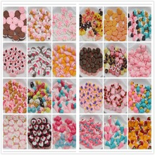 10pcs/lot flat back resin cabochons kawaii resin cake about 15mm mix colors resin foods