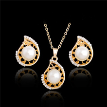 SHUANGR Teardrop Necklace Earring Set Gold Color Simulated Pearl Jewellery Set For Women Wedding Crystal Jewelry