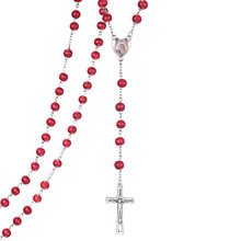 Red 6mm Wooden With fragrancel Necklace Pray Necklace Pray rosary religious beads jewelry necklace Jesus jewelry Factory sell