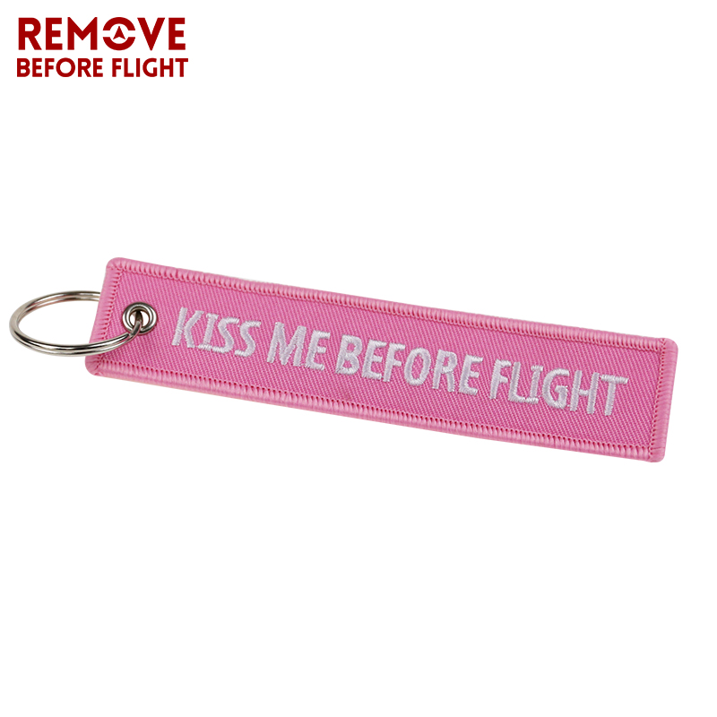 Fashion Keychain Bijoux Kiss Me Before Flight llaveros Keychains Embroidery Key Fobs OEM ATV Car Key Chains for Motorcycle Cars (1)