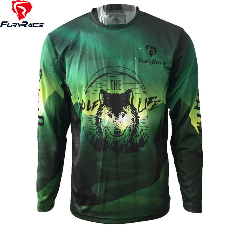 FURY RACE 2017 Wolf Enduro Downhill Jerseys DH MTB BMX Race Riding Cycling Clothes Men Mountain Bike Offroad Motorcycle T Shirts