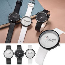 Newly Design Fashion Simple Watch Women Men Clock Hands Faux Leather Band Quartz Wrist Watches Ultra Thin Big Dil Watch  LL