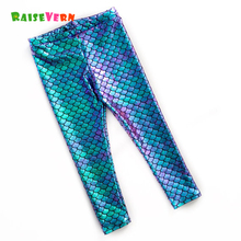 Raisevern 2017 Fashion Pants Girls Blue Fish Scale Pants Little Mermaid Ruffle Leggings Spring And Autumn Pants Pencil Trousers