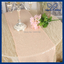 RU009D New gorgeous wholesale custom made sequence peach sequin table runner(China)