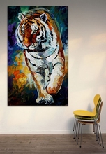 Animals Canvas Painting-100% Hand-Painted Tiger Oil Painting Unframed Mural Art Home Office Hotel Wall Decoration