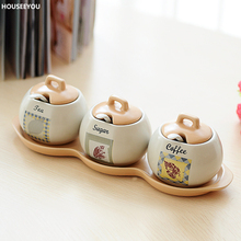 Porcelain Kitchenware Kitchen Container Tools Ceramic Sugar Jar Cooking Tools Seasoning Jar Spice Box Kitchen Accessories(China)