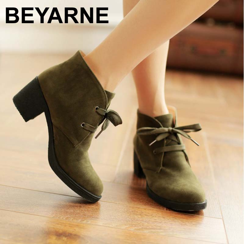 Fashion Ankle Boots Shoes For Women Casual Dress Chuncky Heels Lace Up Winter Spring Fashion Motorcycle Boots Shoes<br><br>Aliexpress