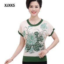 Summer Middle Aged Women's Flower T Shirt Knitted Tops Woman Short Sleeve Shirts Lady O-neck Plus Size 819