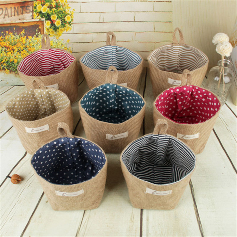 Linen Woven Storage Basket Polka Dot Small Storage Sack Cloth Hanging Non Woven Storage Basket Buckets Bags Kids Toy Box (3)