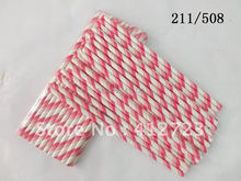 NEW!!!! elegant light pink and hot pink two colored striped paper drinking straws Baby Shower valentine wedding party favors