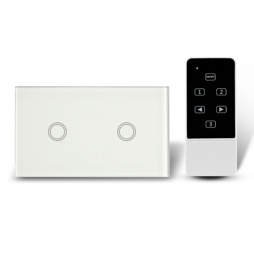 US Type 2 buttons ON/OFF Touch Switch,2 Gang Wireless Remote Control Touch Screen Panel Light Switch, AC110-240V, RF 433Mhz<br>