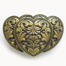 Distribute Belt Buckle Antique Bronze Triple Hearts Western Flowe Belt Buckle Free Shipping 6pcs Per Lot Mix Style is Ok(China)