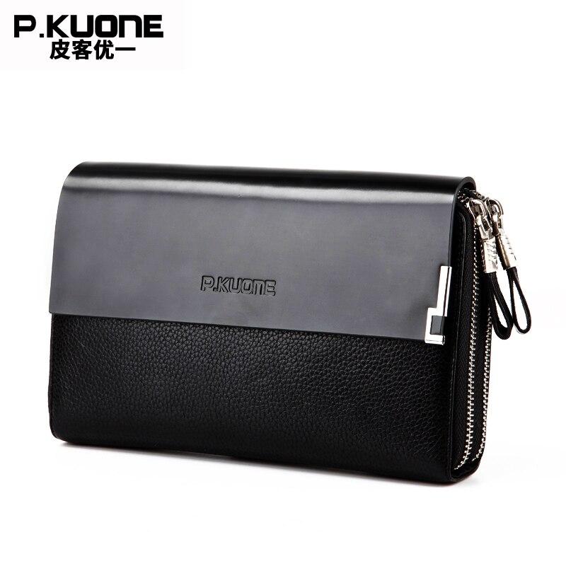 P.KUONE Genuine Leather Clutch Bag Double Zipper 2017 Fashion High Quality Wallets Luxury Brand Purse Men Handbag Card Holder<br>