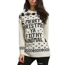 Female Casual Christmas Sweater Santa Claus Pattern Knitted Sweater Jacquard Women Autumn Pullover Clothing(China)