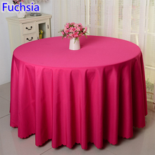 Fuchsia colour wedding table cover table cloth polyester table linen hotel banquet party round tables decoration wholesale