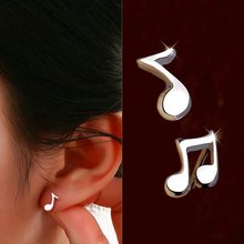 OBSEDE Fashion Lovely Music Note Stud Earrings Silver Plated Pendientes Ear Charm Earring Women Jewelry Friendship Gift