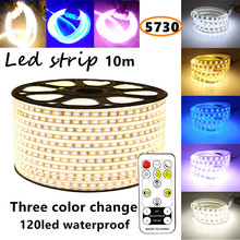 10m Led strip light SMD 5730 LED strip 120led  220V 230V 240V 3 color change Waterproof flexible SMD led strips IP67 + Free Plug