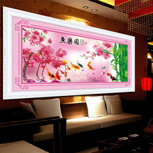 3D Picture of fish joy cross stitch kit Chinese style 11ct cotton silk thread canvas embroidery DIY handmade needlework my