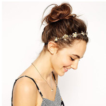 AOJUN Lovely Girls Gold Flower Headband Hair Chain Fashion Bridal Hair Band Headdress for Women Lady Hair Accessories TS14U