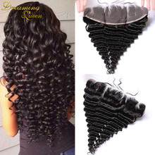 7A Lace Frontals Piece 13x4 Peruvian Hair Deep Wave Full Lace Frontal Closure With Baby Hair From Ear to Ear Silk Top Frontal