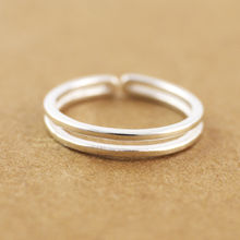 925 Sterling Silver 2 Bands Adjustable Knuckle Midi Mid Finger Toe Pinkie Ring Size 3.5 A3399