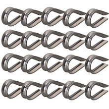 "Silver Tone 1/8"" M3 304 Stainless Steel Galvanized Wire Cable Rope Thimble Winch Wire Loop Pack of 50"