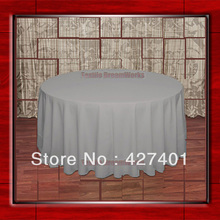 "Hot Sale  132"" R Grey Round Table Cloth Polyester Plain Table Cover for Wedding Events &Party Decoration(Supplier)"