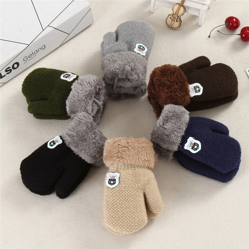Assorted Colours Winter Kids Teens Thick Knitted Mittens Full Finger Gloves Warm