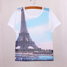 Fashion 3D Eiffel Tower print tshirt women short sleeve breathable fabric girls top tees Western vogue lady t shirt factory sale