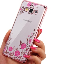 TPU Clear Case For Samsung Galaxy A5 A7 A3 2017 2016 S5 S6 S7 edge S8 Plus J3 J5 J7 Grand Prime Plating Pink Diamonds Soft Cover
