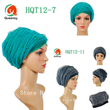 Women African scraf beads with net Solid turban 9 colors African turban gele headwrap african headtie for party or wedding.