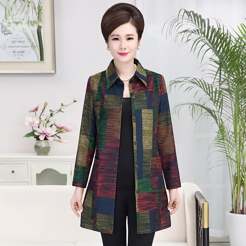 Middle Aged and Old Women's Long Sleeve Blouse Autumn Mothers Wear Loose Large-size Printed Long Shirts Plus Size XL-5XL