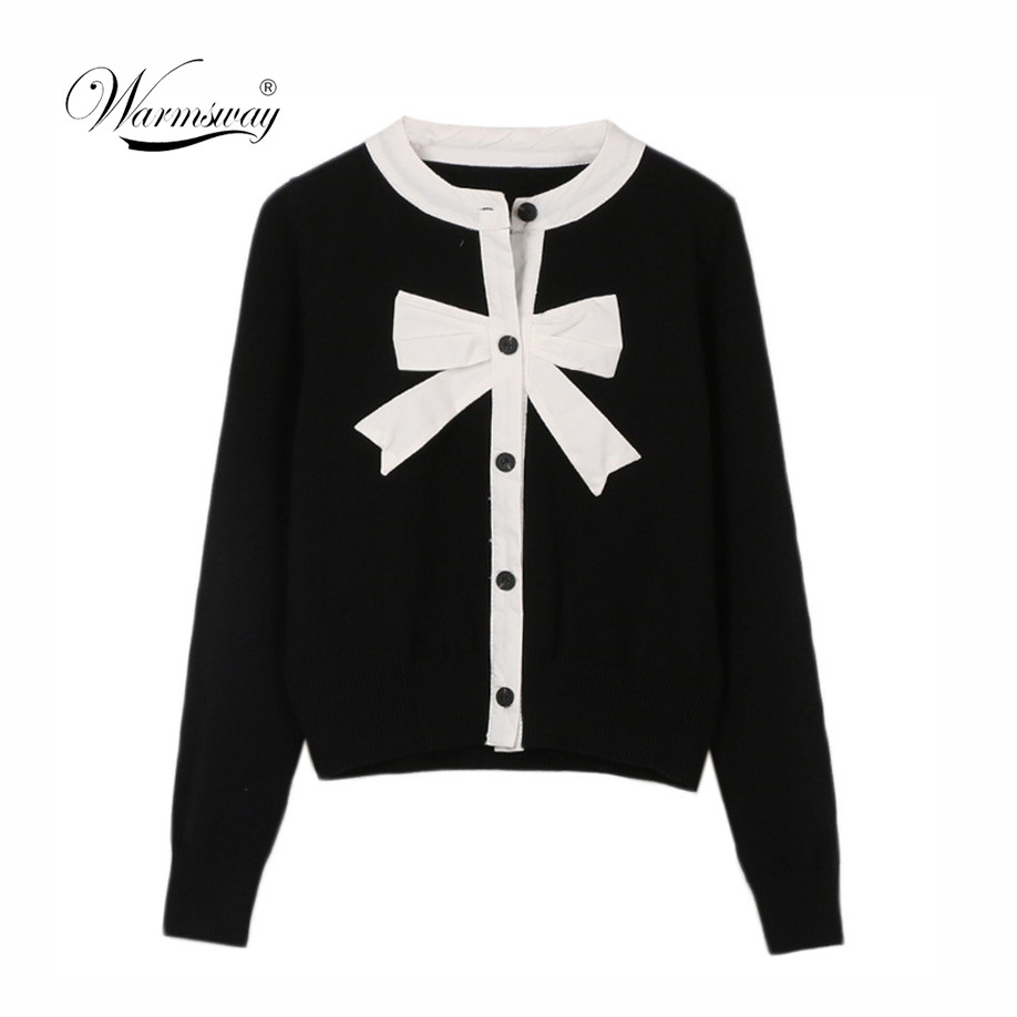 2019 Sweet Cardigan Female Black White Color Block Bow Patchwork O-neck Single Breasted Knitted Sweater Women sueter mujer C-041