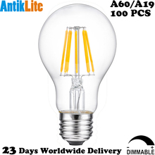 25W 40W 60W Equal E27 Antique Edison Style Dimmable LED Light Bulb 4W 6W 8W Clear Glass A60 LED Filament Bulb A19 100 Pieces/Lot